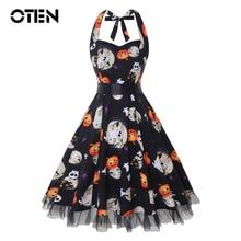 IHOT Vintage dress Halloween Style Women Summer clothes Halter Bat Print Rockabilly strapless pin up dresses vestido de festas