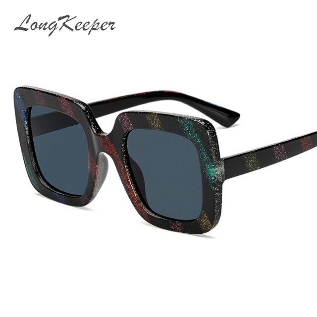 136461856f5 LongKeeper Glitter Square Sunglasses Women Colorful Streak Big Frame Sun  Glasses Fashion Men Candy Colors Brand Designer gafas