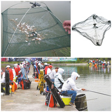 Hot New Outdoor Fishing Tools 60*60CM Folding Fishing Net Nylon Shrimp Folding Bait Net Fishing Cage Fishnet Rede De Pesca