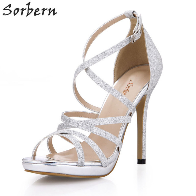 bea5910b4bbf Sorbern Silver Glitter Cross Strap Women Sandals 12Cm High Heels Evening Party  Shoes Women Open Stiletto