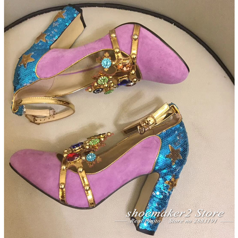 2e1548c75e3b33 2018 Runway Hand made Jewels High Heels Woman Round Toe Diamond Crown Decor  Star Sequins Pumps Women Luxury Wedding Shoes -in Women s Pumps from Shoes  on ...