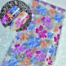 1 meter Laser Nail Art Design Sticker Flower Pattern Full Wrap Transfer Nail Foil Decals without Nail Glue for Finger Decoration