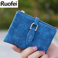 RUO FEI Lady Snap Fastener Short Clutch Wallet Vintage Matte Women Wallet Fashion Small Female Purse