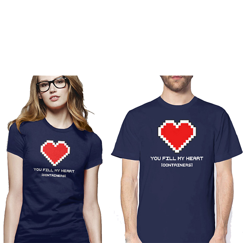 EnjoytheSpirit Geek Valentines Day You Fill My Heart Container T Shirt Geek Gift for Couple Video Game T-shirt Navy Blue