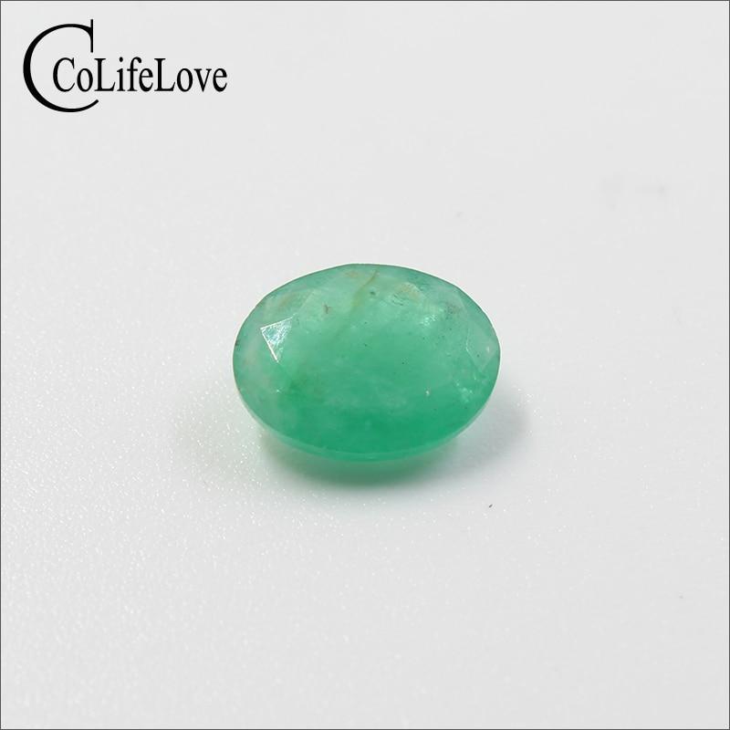 1.3 ct natural Zambia emerald gemstone 7 mm * 9 mm oval cut I grade emerald gemstone for man jewelry