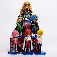 6pcs/set Anime One Piece Action Figure VinsmokeFamily Sanji Reiju Ichiji Niji Yonji Q Ver Small Model Decoration Doll 8cm