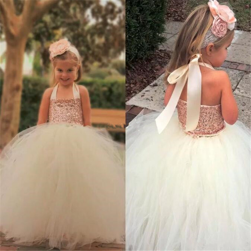 Cute Ivory   Flower     Girl     Dresses   Bling Rose Gold Sequin Halter Floor Length Ball Gown Cheap Custom Made Little   Girls   Pageant gown