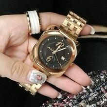 Женщины Часы Леди Люкс Нержавеющей Стали Розовое Золото Наручные Часы Мужчины Женщины Площадь Кварц Платье Часы relojes mujer 2016