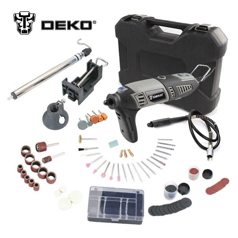 DEKO GJ201 220V 170W LCD Variable Speed Rotary Tool Dremel Style Electric Mini Drill w/ Flexible Shaft & 3 Sets to Choose  цены