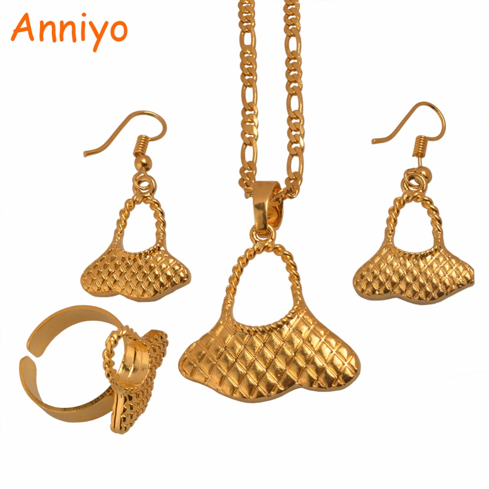 Anniyo Gold Color Pendant Necklaces for Women Jewelry Gift