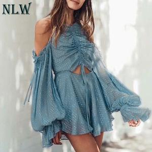 26913aca2e4c NLW Blue Long Sleeve Playsuit Sexy Short Jumpsuit Rompers