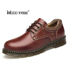 Woodtree Maat 38-46 Winter Natuurlijke Lederen Mannen Kwaliteit Enkellaarsjes Mens Water Proof Werkschoenen Zapatos Hombre warm sneeuw pursh bo(China)