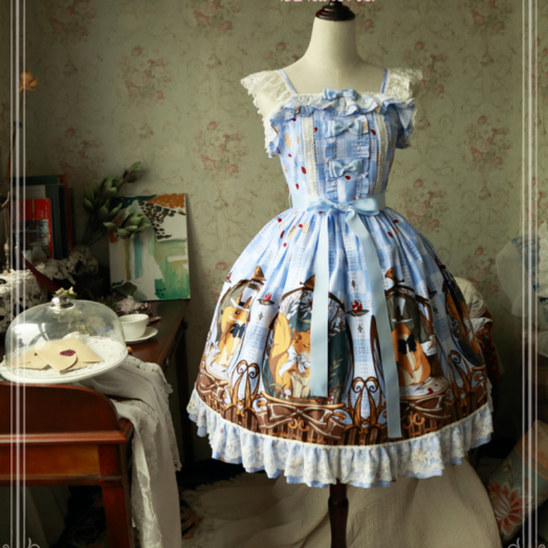 Sweet Squirrels' Leisure Time Printed Lolita JSK Dress by Magic Tea Party