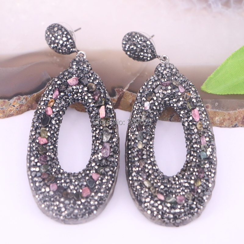4Pairs Pave Rhinestone dangle Earrings Jewelry Finding For Women
