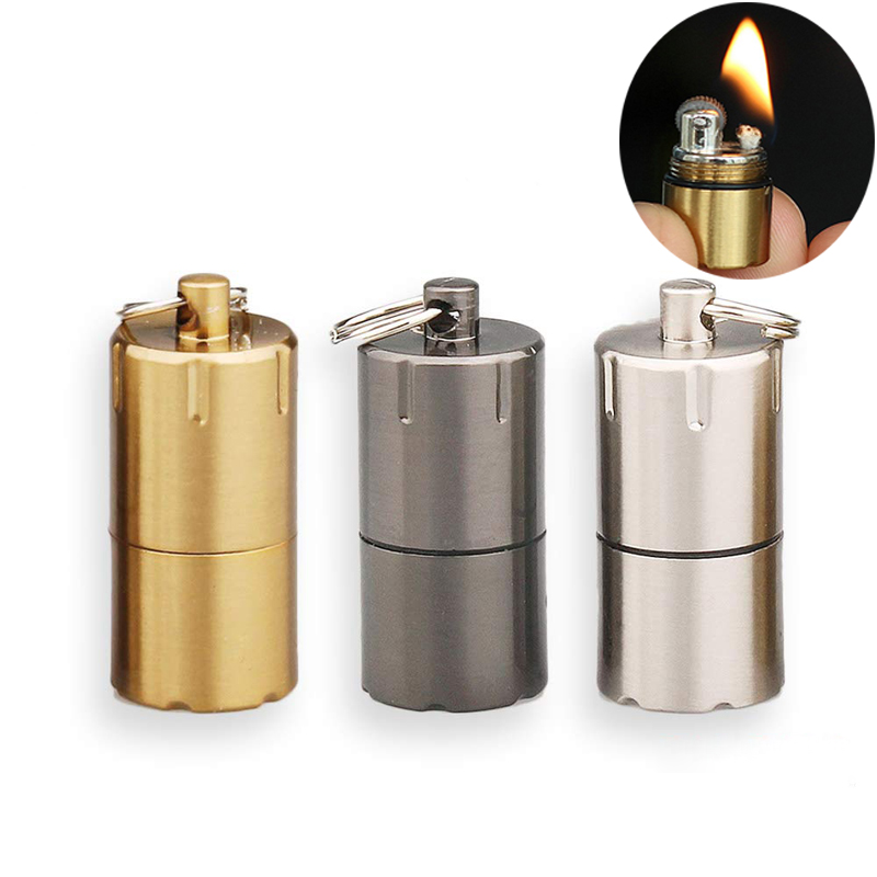 EDC Mini Compact Kerosene Lighter Keychain Tool Outdoor Key Chain Petrol Lighter Camping Survival Tools Permanent Matches