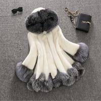Latest Winter Warm Female Sheepskin Coats Faux Fur Fox Collars Snap Fastener Furs Big Yards Slim Plus Size M190704