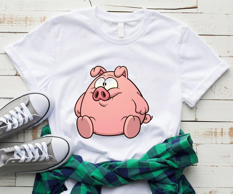 Tees Arrive Popular Novelty Animal Pig T Shirt Unisex Women Camiseta Mujer Harajuku Style Summer Korean Aesthetic Female Tops