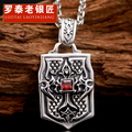 100% 925 Silver Hot sale  The cross man necklace Thai silver cross flower tags Lettering Chinese valentine's day gift