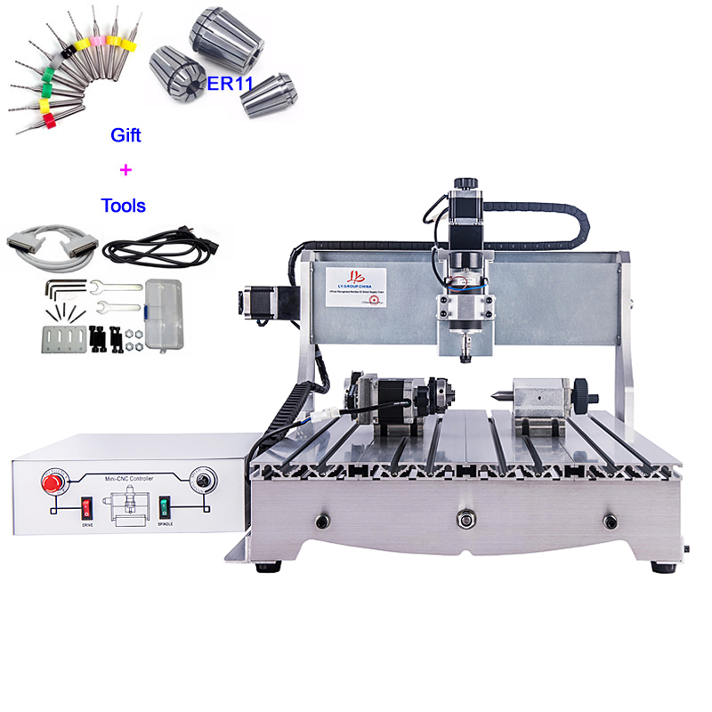 <font><b>6040</b></font> <font><b>CNC</b></font> <font><b>Router</b></font> Cutter Ball Screw 4 Axis Wood Engraving Machine for Soft Metal Working image
