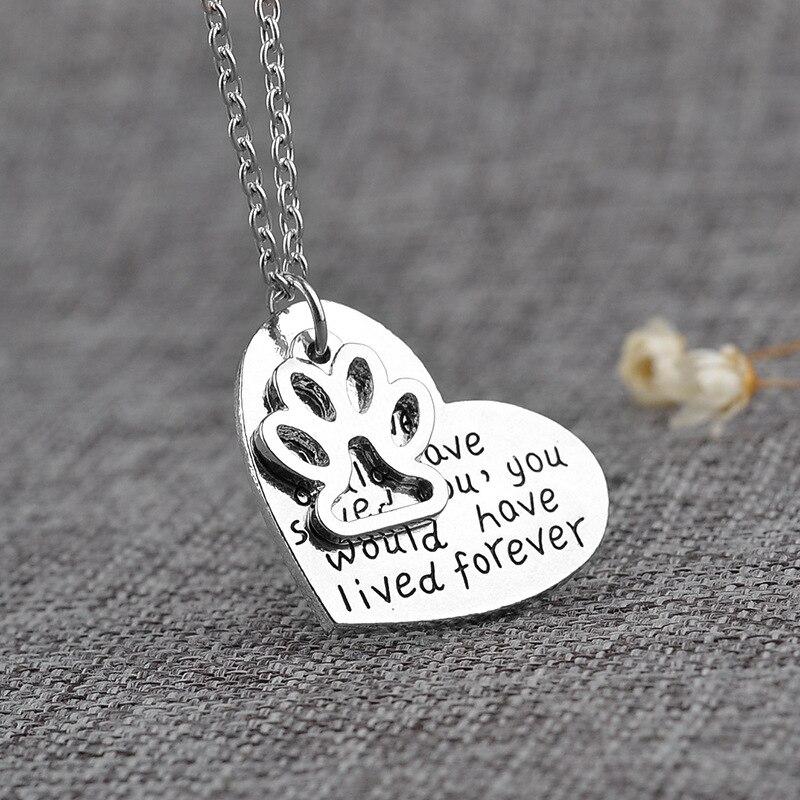Мода 1 шт. собаки принт сердце любовь посеребренные Длинная цепочка Кулон Цепочки и ожерелья Best друг ювелирные изделия подарок ...