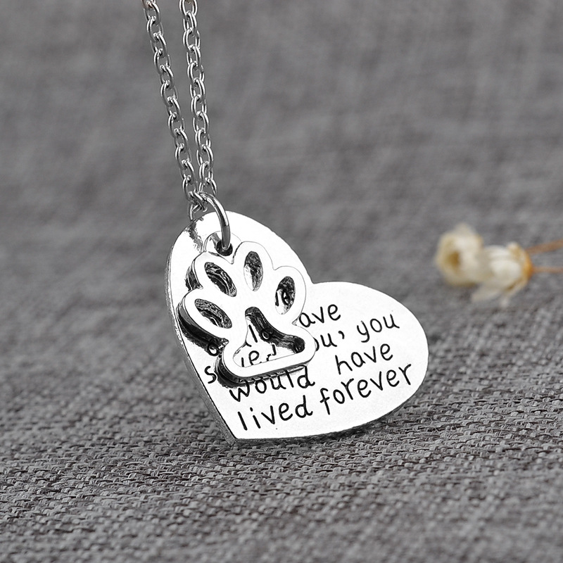 Fashion 1Pc Dog Paw Print Love Heart Silver Plated Long Chain Pendant Necklace Best Friend Jewelry Gift