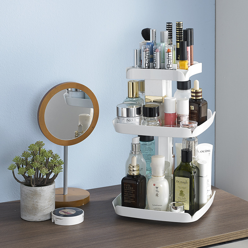 360 Rotatable Cosmetic Organizer Plastic Makeup Container Tray Make Up Holder Boxes Basket Brush Desktop Bathroom Storage Rack-in Storage Boxes & Bins from Home & Garden