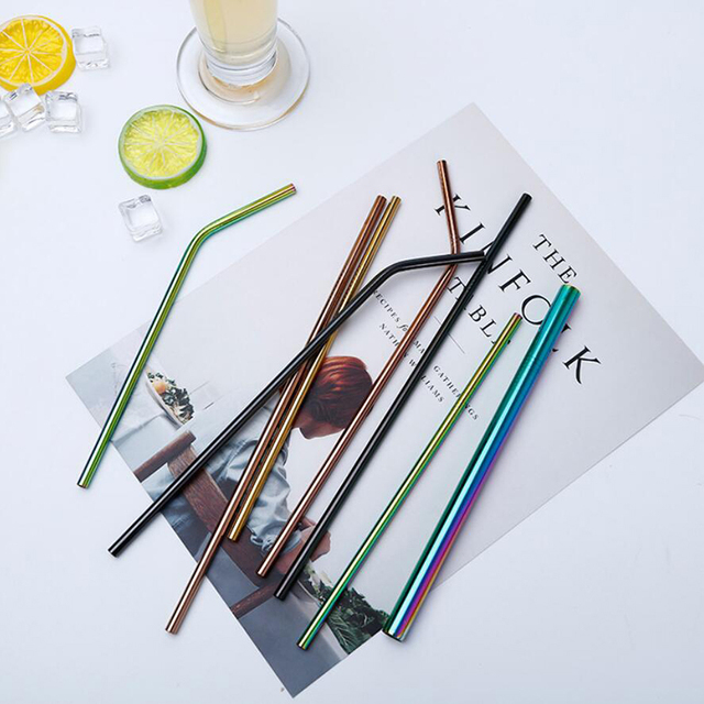 Reusable Stainless Steel Drinking Straw Set with Cleaning Brush