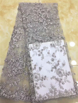 3D Flowers Latest African Cord Lace Fabrics High Quality 2018 Nigerian Lace Fabric For Wedding African Lace Fabric White pink