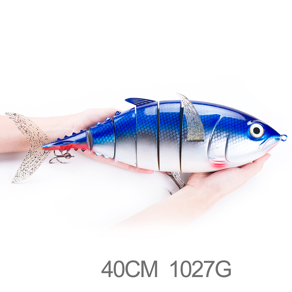 6 Segments 400mm 1.03kg Fishing Lures Huge Length Jointed Lures Saltwater Fishing Tuna Lifelike Lures with Strong Treble Hooks 8pcs artificial fishing lures hooks 8 color fishing lures bait with 6 fishing hooks set kit wobblers lifelike high durability c3