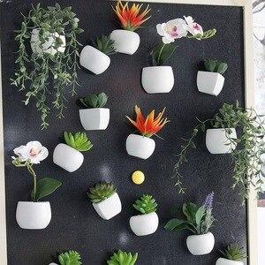 Image 2 - 3d 冷蔵庫ステッカー磁気多肉植物冷蔵庫マグネットステッカー花束花冷蔵庫鉢植えステッカーの壁
