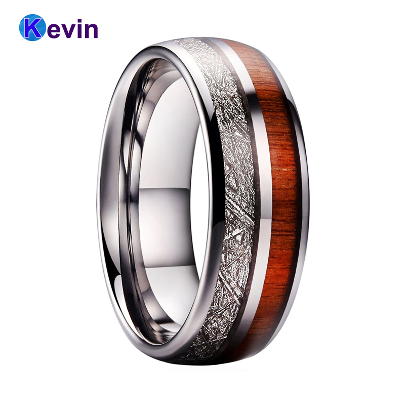 Tungsten Carbide Ring Men Women Wedding Band Domed With Wood And Meteorite Inlay black tungsten carbide with dark wood inlay mens wedding ring