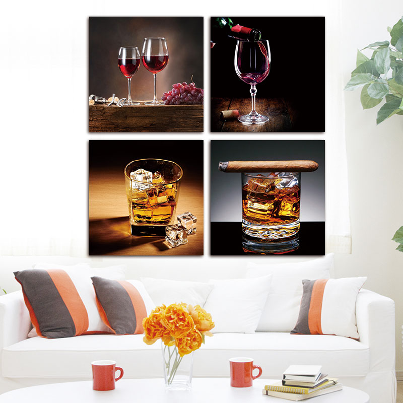Canvas Paintings Wall Art Red Wine Cup Bottleoil Painting 4 Piece