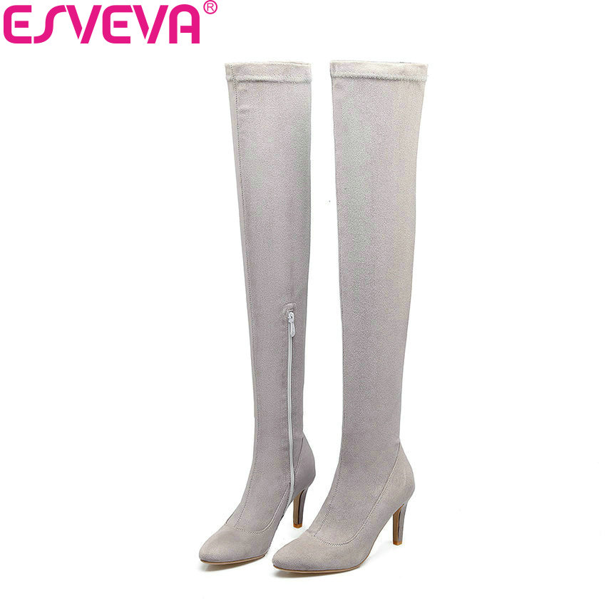 ESVEVA 2018 Women Boots Sexy Pointed Toe Boots Spring and Autumn Over The Knee Boots Thin High Heels Slim Look Boots Size 34-43 qutaa 2017 women over the knee high boots all match pointed toe high quality thin high heel pointed toe women boots size 34 43