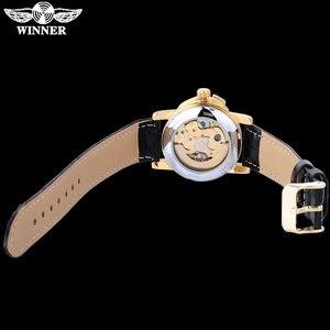Image 2 - WINNER brand women watches skeleton mechanical watch white leather band ladies simple fashion casual clock relogio femininos