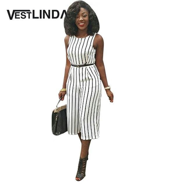VESTLINDA Casual Women Jumpsuit Fashion Sleeveless Round Collar Pocket Zipper Black White Striped Straight Lady Loose Jumpsuits