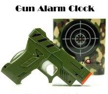 Бесплатная доставка 1 Компл. Gun Будильник/Стрелять и USB инфракрасный индукционная Пистолет Будильник будильник,