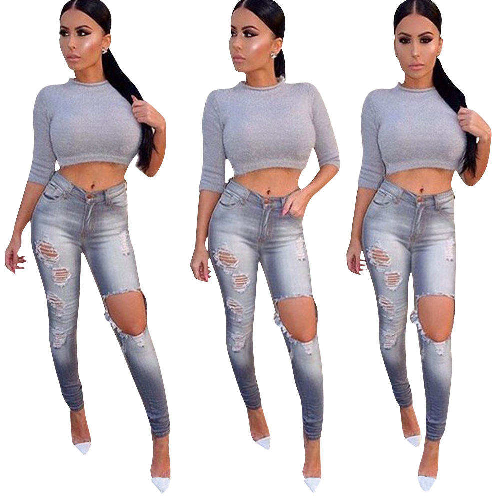 Womens New Destroyed Ripped Distressed Slim Denim Jeans Women Casual Boyfriend Sexy Hole Pencil Pants Plus Size