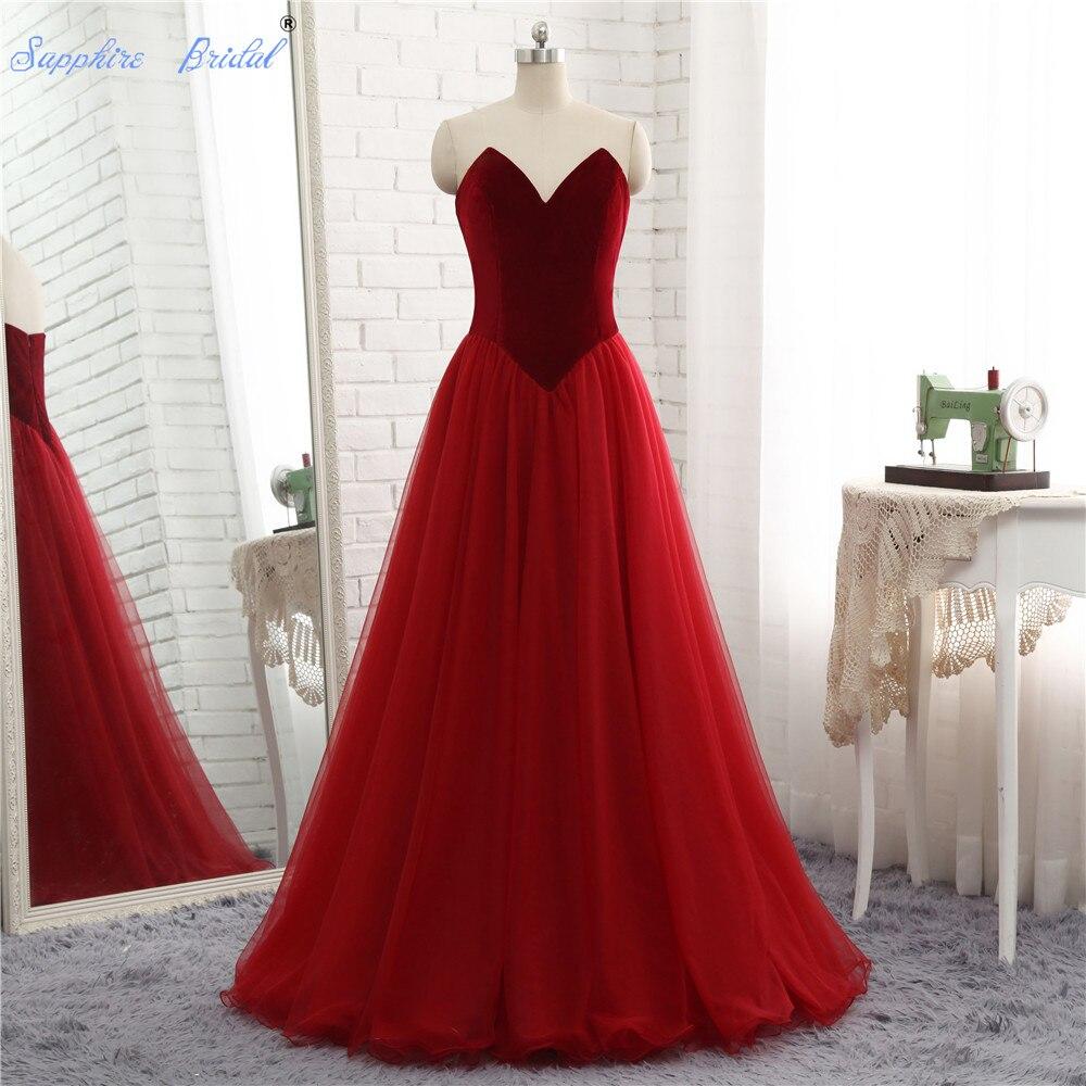 Saphir mariée Tulle chérie longue robe de bal bordeaux formelle une ligne volants robes de soirée formelles