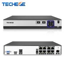 Techege 4CH 8CH 48 В PoE NVR видеонаблюдения NVR IEE802.3af 52 в PoE 4/8CH POE NVR безопасности IP камера видео система наблюдения CCTV