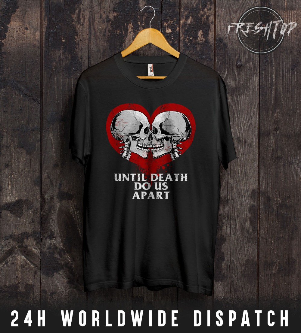 2018 Fashion Summer T shirt Heart Skeleton T Shirt Valentines Day Lovers Couple Skull Rock Metal Gift Wife Tee Shirt