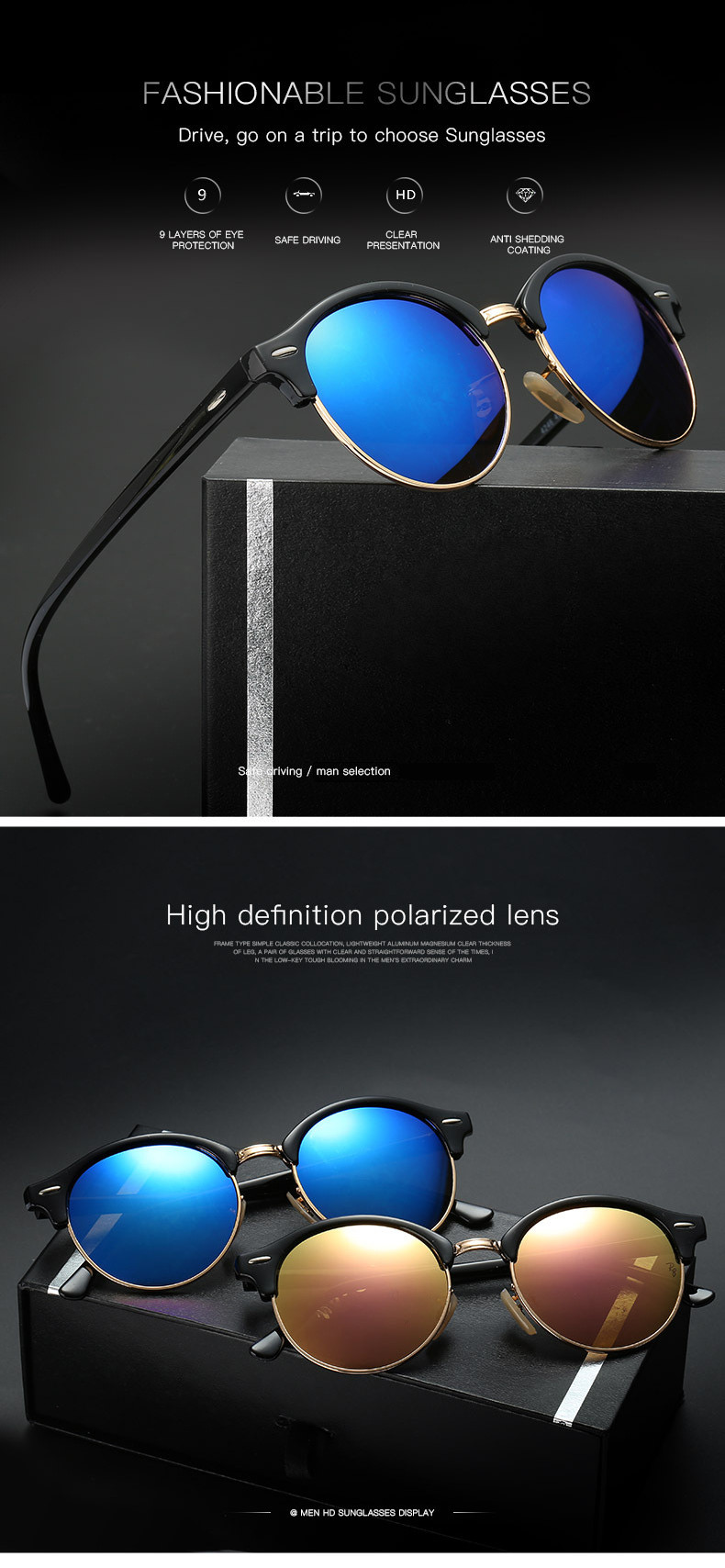 b25d2daf70a Classic Polarized Sunglasses Men Women Retro Brand Designer Driving Sun Glasses  Vintage UV400 Polaroid Mirror Sunglass