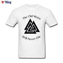 Old Ways Never Die Black Vikings Logo T Shirt Men Custom Short Sleeve New Hiphop 3d Printer Cotton 3XL Vikings Mens T Shirts