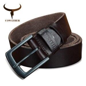 Image 2 - COWATHER 100% جلد البقر أحزمة جلد طبيعي للرجال خمر 2019 تصميم جديد الذكور حزام ceinture أوم 110 130 سنتيمتر الرجال حزام