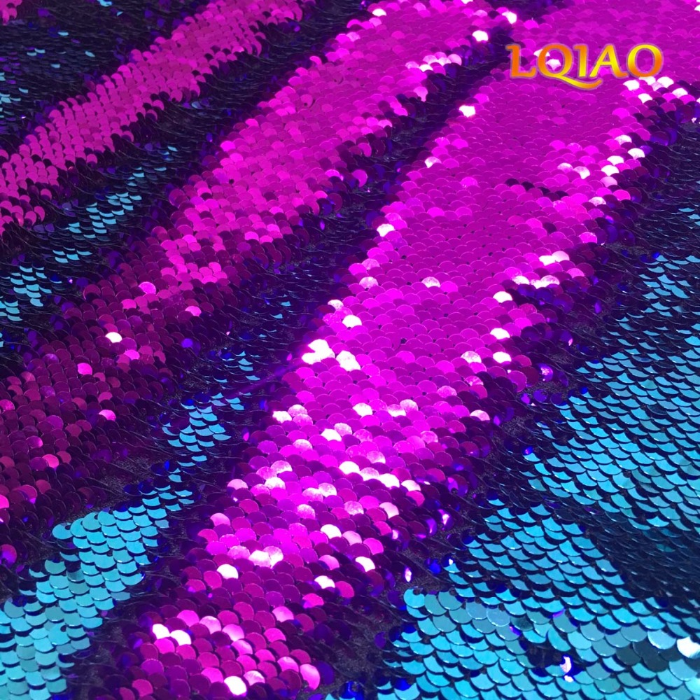 Customize 5 yards Turquoise fuchsia sequin fabric for DIY design