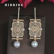 Бренд hibride, серьги-капли с микро кубическим цирконием золотого цвета и жемчугом для женщин, модные Висячие серьги, Букле д 'ореиль, E-677