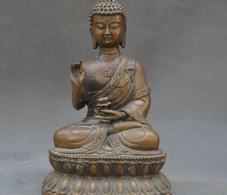 "9"" Old Tibet Buddhism bronze Sakyamuni Rulai Shakyamuni Amitabha Buddha Statue"