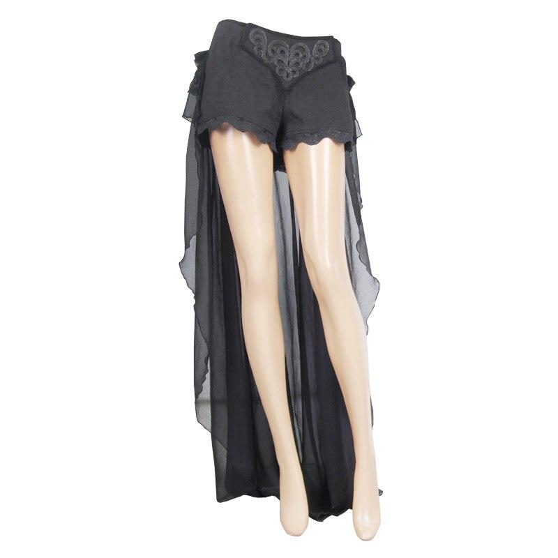 Diabo moda gótico preto sexy shorts com renda longa steampunk verão feminino legal shorts calças personalizadas - 4