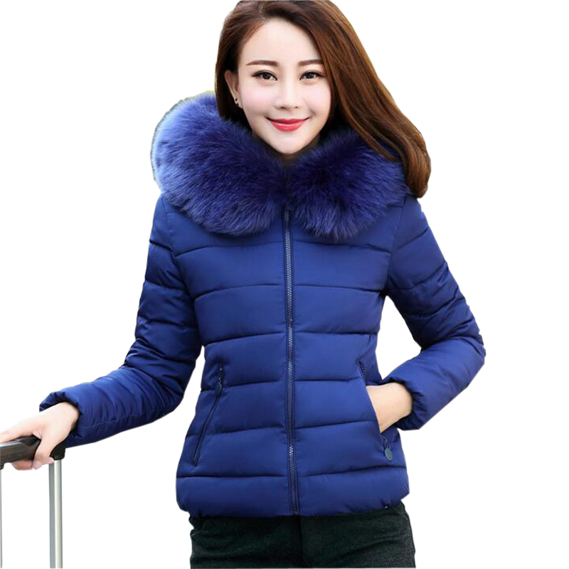 ФОТО Women Parkas 2016 Fashion Cotton-Padded Winter Coat Fur Collar Warm Slim Cotton Jacket Plus Size  jaqueta feminina wt157