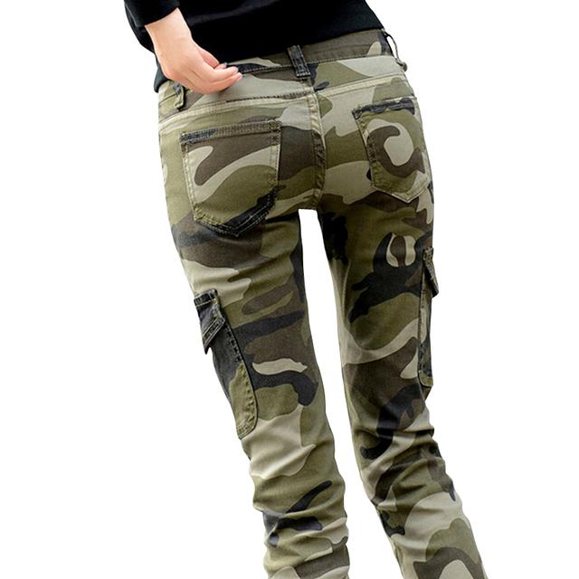 2017 Mujeres de Los Pantalones de Algodón de Camuflaje de La Moda de Las Mujeres Pantalones Lápiz Pantalones de Las Mujeres Largas