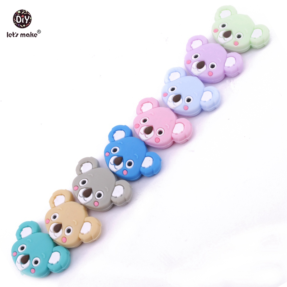 Let's Make Baby Nursing Accessories Siilicone Koala Beads 50pcs Food Grade Silicone Teether DIY Jewelry Teething Necklace Beads